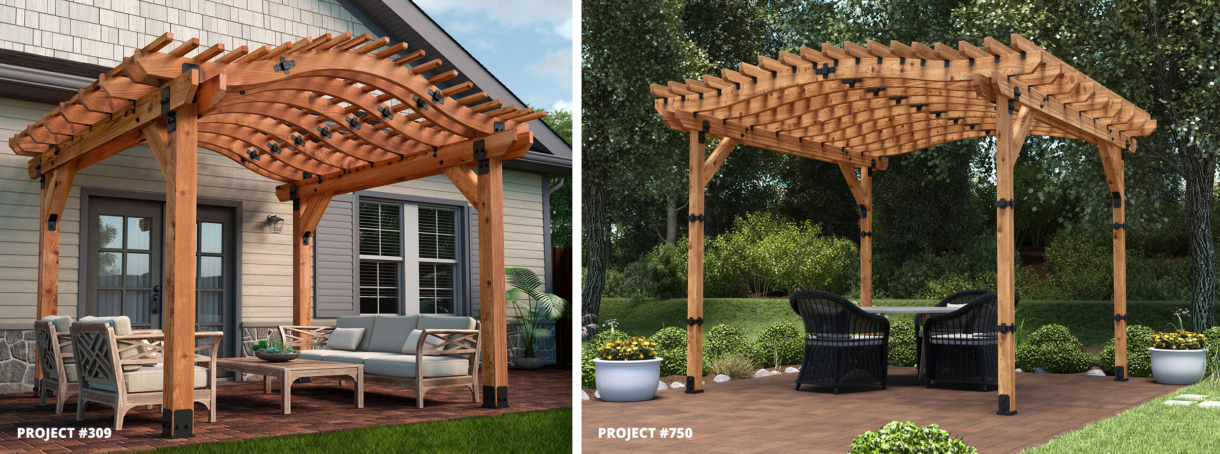 Pergola with Curve Appeal Curved Rafters