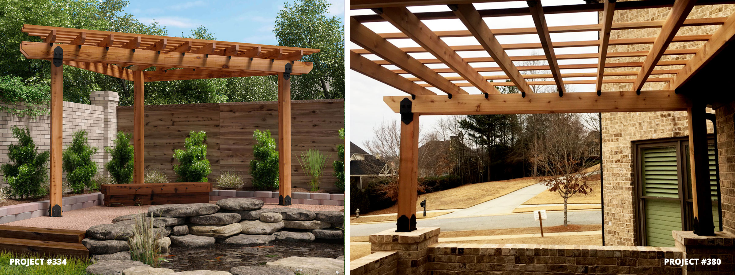 Corner Pergolas Attached and Free Standing
