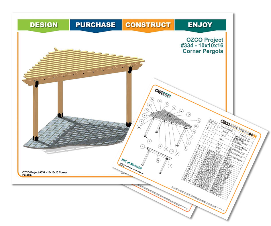 Project Plans Corner Pergola - Project Plans: Corner Pergola Free Standing & Attached