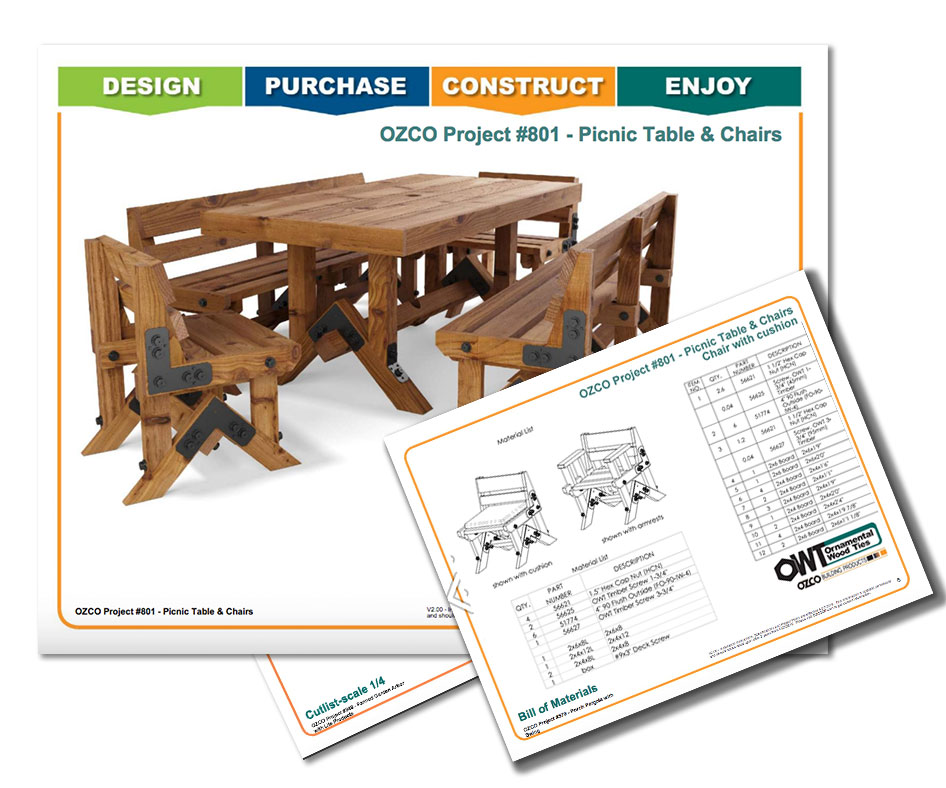 Project Plans Patio Pic Nic Table Chairs Bench Outdoor Seating