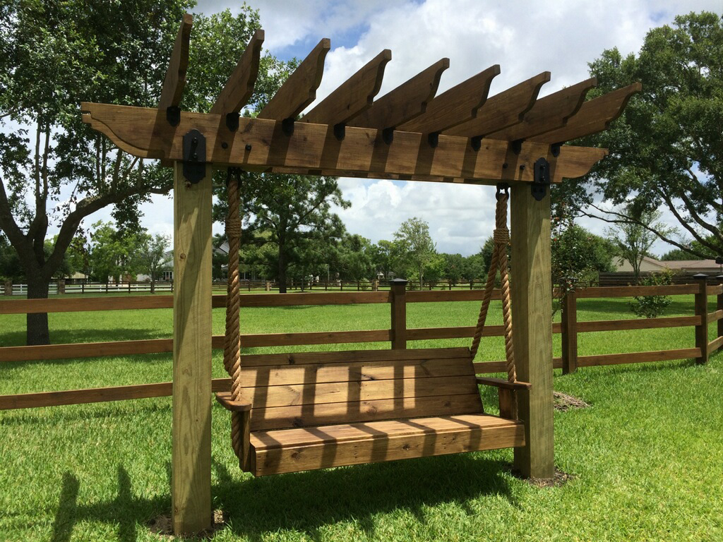 project 000 pergola swing ozco building products. Black Bedroom Furniture Sets. Home Design Ideas